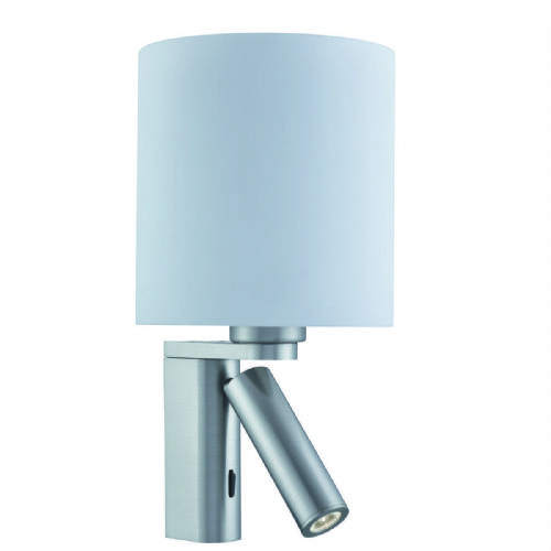 Adjustable Wall 1 Light/Cylinder Arm Led Reading Light, Satin Silver, White Glass Shade 0991Ss